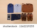 set of clothes and various... | Shutterstock . vector #1162219255