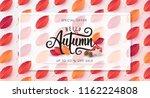 autumn leaves background.... | Shutterstock .eps vector #1162224808