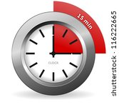 clock 15 minutes to go   bright ... | Shutterstock .eps vector #116222665