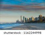 waves in sunset on gold  oast ... | Shutterstock . vector #1162244998