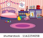 young girls bedroom interior... | Shutterstock .eps vector #1162254058