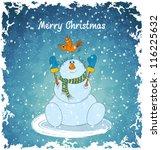 merry snowman with bird.... | Shutterstock .eps vector #116225632