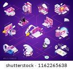 wireless technology isometric... | Shutterstock .eps vector #1162265638