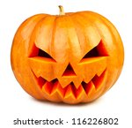 Stock photo pumpkin halloween jack o lantern isolated white 116226802