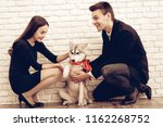 happy beautiful couple with dog ...   Shutterstock . vector #1162268752