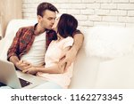 a guy and a girl romantic kiss...   Shutterstock . vector #1162273345