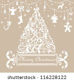 christmas pastel greeting card | Shutterstock .eps vector #116228122