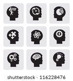 vector black head icons set on... | Shutterstock .eps vector #116228476