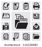 vector black document icons set ... | Shutterstock .eps vector #116228482