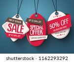 paper cut sale tags vector set. ... | Shutterstock .eps vector #1162293292