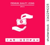 receiving money banknotes stack ... | Shutterstock .eps vector #1162294225
