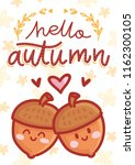autumn illustration with cute... | Shutterstock .eps vector #1162300105