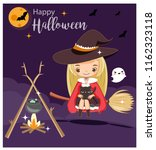 vector of cute witch for... | Shutterstock .eps vector #1162323118
