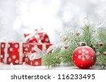 Closeup Of Christmas Ball With...
