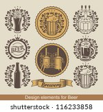 set of beer emblem with laurel... | Shutterstock .eps vector #116233858