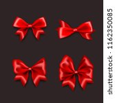 red gift silk bow set banner.... | Shutterstock .eps vector #1162350085