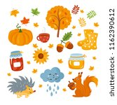 autumn set. colorful fall... | Shutterstock .eps vector #1162390612