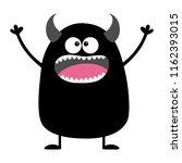 cute black silhouette monster...   Shutterstock .eps vector #1162393015