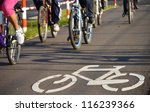 bicycle road sign on asphalt.... | Shutterstock . vector #116239366