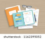 business wooden table with open ... | Shutterstock .eps vector #1162395052