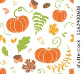 Stock vector hand drawn cute autumn background seamless pattern of falling colorful maple leaves pumpkin oak 1162400608
