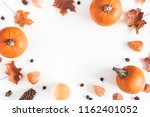 autumn composition. pumpkins ... | Shutterstock . vector #1162401052