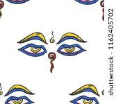 buddha wisdom eyes seamless... | Shutterstock .eps vector #1162405702