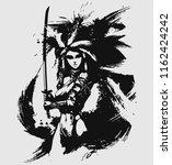 beautiful samurai girl with... | Shutterstock .eps vector #1162424242