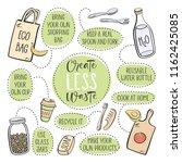 zero waste. eco lifestyle ... | Shutterstock .eps vector #1162425085