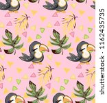exotic pattern with cute toucan ... | Shutterstock .eps vector #1162435735