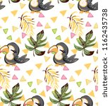 exotic pattern with cute toucan ... | Shutterstock .eps vector #1162435738
