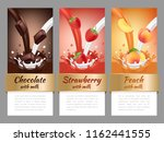 fruits and chocolate splashes.... | Shutterstock .eps vector #1162441555