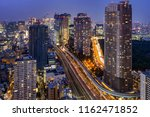 tokyo cityscape and traffic at... | Shutterstock . vector #1162471852