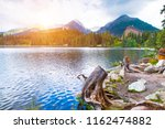 mountain landscape  lake and... | Shutterstock . vector #1162474882
