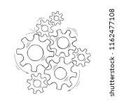 mechanical gears vector sketch... | Shutterstock .eps vector #1162477108