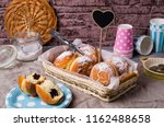 traditional round donuts with a ... | Shutterstock . vector #1162488658