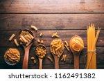 top view of a rustic wooden... | Shutterstock . vector #1162491382
