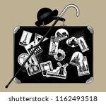 old black suitcase with walking ... | Shutterstock .eps vector #1162493518