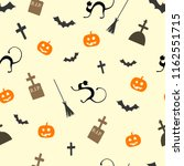halloween seamless pattern with ... | Shutterstock .eps vector #1162551715