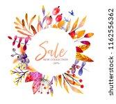 hand drawn watercolor wreath of ... | Shutterstock . vector #1162556362