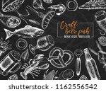 hand drawn oktoberfest pub... | Shutterstock .eps vector #1162556542