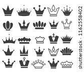 25 vector crown icons set ... | Shutterstock . vector #1162558402