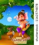 happy ganesh chaturthi festival ... | Shutterstock .eps vector #1162574878