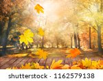autumn trees background | Shutterstock . vector #1162579138