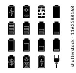 battery charging glyph icons...   Shutterstock .eps vector #1162588168