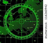Green Radar Screen Over Square...