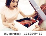 guy makes a gift to girlfriend...   Shutterstock . vector #1162649482