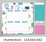 weekly planner with cute floral ... | Shutterstock .eps vector #1162661362
