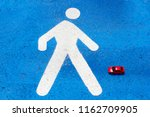 a red toy car hits the ... | Shutterstock . vector #1162709905