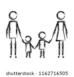parents couple with kids figures | Shutterstock .eps vector #1162716505